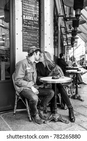 paris france january 10th 2016 a boy and a girl in love are