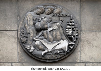 PARIS, FRANCE - JANUARY 11, 2018: Avicenna, was a Persian polymath. He has been described as the father of early modern medicine. Stone relief at the building of the Faculte de Medicine Paris