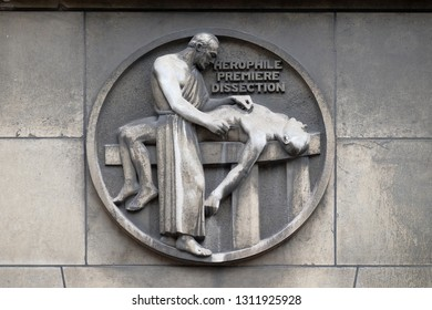 PARIS, FRANCE - JANUARY 11: Herophilos, the first dissection. Stone relief at the building of the Faculte de Medicine Paris, France on January 11, 2018.