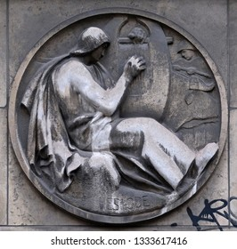 PARIS, FRANCE - JANUARY 11: Hesiod was a Greek poet generally thought by scholars. Stone relief at the building of the Faculte de Medicine Paris, France on January 11, 2018.
