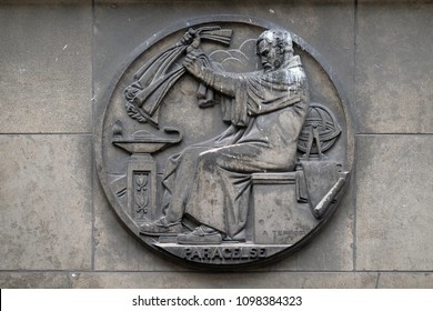 PARIS, FRANCE - JANUARY 11: Paracelsus, was a Swiss physician, alchemist and astrologer of the German Renaissance, relief at the building of the Faculte de Medicine Paris, France on January 11, 2018.