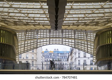 Paris, France - January 12, 2017: The canopy rooftop of the new Forum des Halles shopping complex in Paris, France