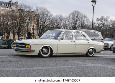 Paris, France; January 12, 2020: Audi 100 cream color in the street