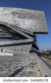 PARIS, FRANCE - JANUARY 13, 2018: View of Paris Philharmonic (Philharmonie de Paris, 1995) in Parc de la Villette. Philharmonie de Paris is a unique architectural and cultural center.