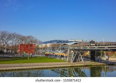 PARIS, FRANCE - JANUARY 13, 2018: Canal de l'Ourcq in Villette Park (Parc de la Villette) in Paris, France.