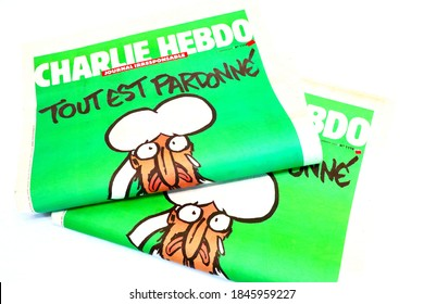Paris, France – January 14, 2015: French satirical weekly CHARLIE HEBDO No. 1178, published on January 14, 2015. The first issue after the Charlie Hebdo shooting on January 7, 2015