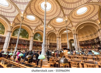 Paris France January 14th 2017 :  Famous Labrouste lecture room in the French National Library rue Vivienne in Paris