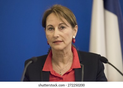 PARIS, FRANCE - JANUARY 15, 2015 : French ministry of transport and sustainable development Segolene Royal during wishes 2015 to the press.