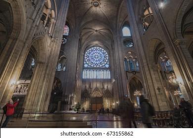 Paris, France - January 15, 2017: Interior of Cathédrale Notre-Dame, medieval Catholic cathedral on the Île de la Cité.