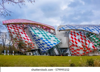 PARIS, FRANCE - JANUARY 16, 2017 : The Building of the Louis Vuitton Foundation in Paris, France. The building was designed by the architect Frank Gehry.