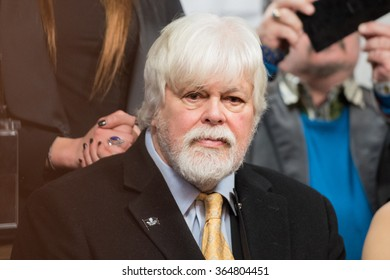 PARIS, FRANCE - JANUARY 19, 2016 : The marine wildlife conservation and environmental activist Paul Watson during the press conference of Pamela Anderson against the force-feeding of geese.