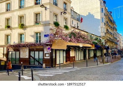 Paris, France - January 2021: The beautiful architecture of Monmartre in Paris