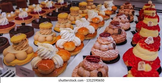 Paris, France - January 21, 2015: Delicate petit fours desserts at the famous tea house Angelina on Rue de Rivoli in Paris