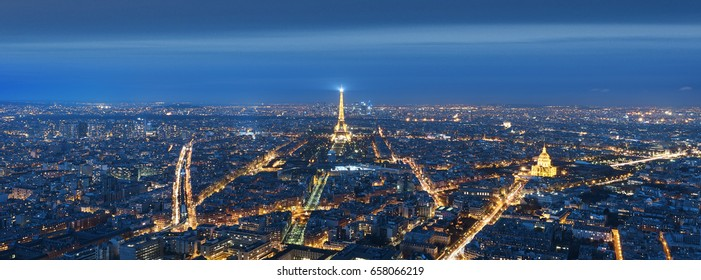Paris, France January 21, 2017 : View of the Eiffel tower at night from Tour Montparnasse, Paris FRANCE.