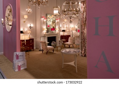 PARIS, FRANCE - JANUARY 24, 2014: Pink decor on a stand at Maison&Objet, the French leading professional trade show for home fashion in Paris, France.