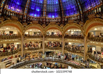 Paris, France - January 24 2018:  People are shopping in the famous shopping center Galeries Lafayette in Paris, France. Photo was taken from top view.