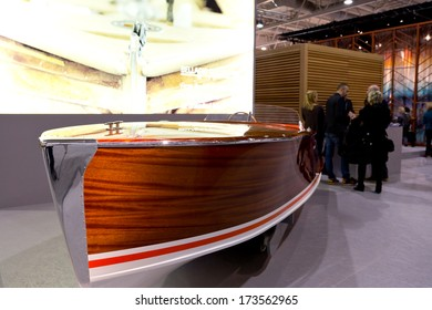 PARIS, FRANCE - JANUARY 27, 2014: A boat decorates a stand at Maison&Objet, the French leading professional trade show for home fashion in Paris, France.