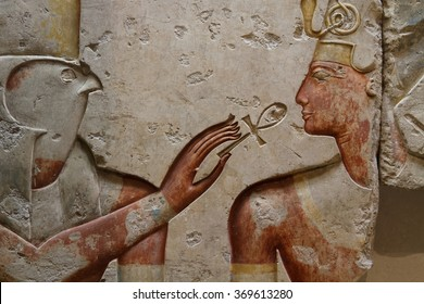PARIS, FRANCE, January 27, 2016 : Collection of Egyptian Art presented in Le Louvre. Le Louvre is one of the largest and most popular art museum in the world.