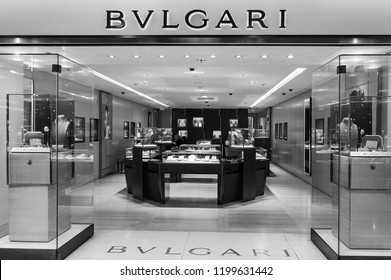 PARIS, FRANCE - JANUARY 27, 2018: Bulgari boutique in Printemps department store. Black and white photo.