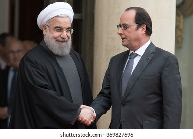 PARIS, FRANCE - JANUARY 28, 2016 : The french President Francois Hollande at the Elysee Palace welcoming the President of Iran for his official visit in France to sign contracts.