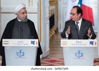 PARIS, FRANCE - JANUARY 28, 2016 : The french president Francois Hollande with the President of Iran during press conference for an official visit in France to sign contracts.