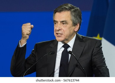 PARIS, FRANCE - JANUARY 29, 2017 : Francois Fillon from the political party Les Republicains in meeting at Porte de la Villette in Paris for the French presidential election of 2017.