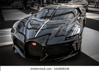 PARIS, FRANCE - January 29, 2020 : The Bugatti La voiture Noire, a mid-engine two-seater sports car  GT based on the Chiron at the Festival Automobile Internationnal.