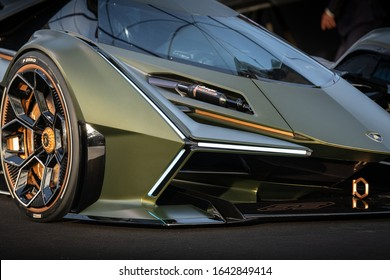 PARIS, FRANCE - January 29, 2020 : The concept car Lamborghini Lambo V12 Vision Gran Turismo designed by Mitja Borkert at the Festival Automobile Internationnal.