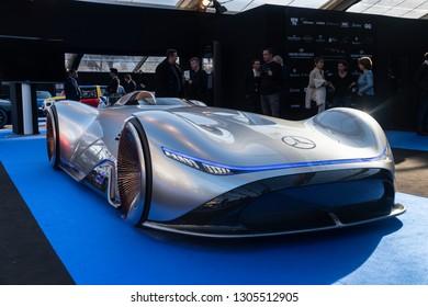 PARIS, FRANCE - January 30, 2019 : The electric concept car Mercedes vision EQ  Silver Arrow at the Festival Automobile Internationnal.