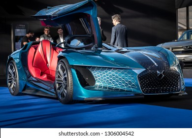 PARIS, FRANCE - January 30, 2019: The asymetric electric concept car DS X E-Tense at the Festival Automobile Internationnal. It's a three-seat concept founded on an association of two vehicules in one
