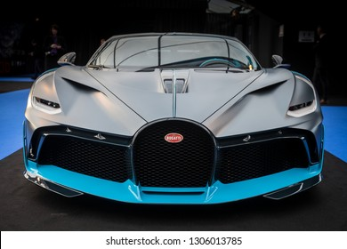 PARIS, FRANCE - January 30, 2019 : The mid-engine track focused sports Bugatti Divo at the Festival Automobile Internationnal.
