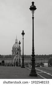 Paris, France - January 31, 2021 : Beautiful bridge and lanterns in Paris France