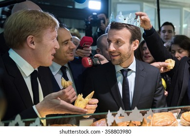PARIS, FRANCE - JANUARY 6, 2016 : The French minister of economy Emannuel macron at the Beaugrenelle shopping center in Paris for the opening of the winter sales.