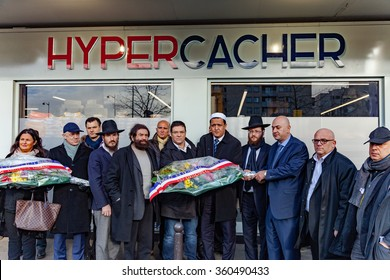 Paris, France - January 8, 2016: Hassen Chalghoumi, Marek Halter, Stéphane Martinet  and personalities pay tribute to Hyper Cacher victims of terrorist attacks in Paris.