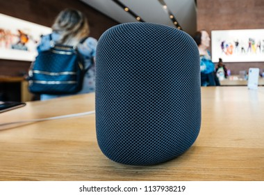 PARIS, FRANCE - JUL 16, 2018: New Apple Store the latest Apple Computers HomePod smart speaker with Siri and Apple Music