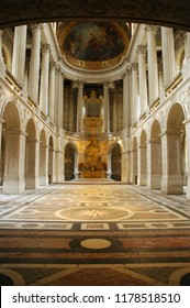 PARIS, FRANCE - JUL 23, 2018: Great Hall Ballroom in Versaille Palace. Versaille Palace and surrounding gardens is are on the UNESCO World Heritage List in Paris, France