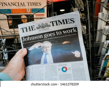 Paris, France - Jul 24, 2019: Boris Johnson appears on cover page of the British The Times newspaper as he becomes UK United Kingdom Prime Minister