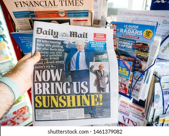 Paris, France - Jul 24, 2019: Boris Johnson appears on cover page of the British Daily Mail with title Now Bring us Sunshine newspaper as he becomes UK United Kingdom Prime Minister