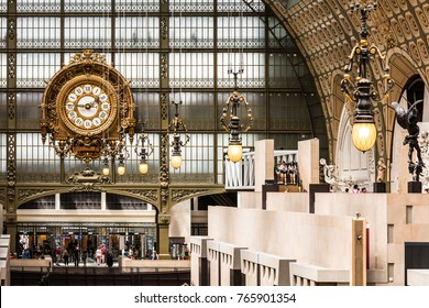 Paris, France - Jule 05, 2017: Main hall of the Orsay Museum. The Musee d'Orsay is a museum in Paris, on the left bank of the Seine. Musee d'Orsay has the larget collection of impressionist paintings