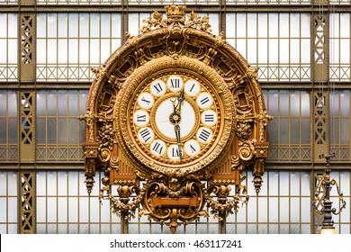 Paris, France - Jule 08, 2016: Golden clock of the museum D'Orsay.The Musee d'Orsay is a museum in Paris, on the left bank of the Seine.