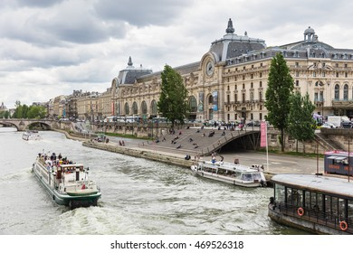 Paris, France - July 02, 2016: The musee d'Orsay is a museum in Paris, on the left bank of the Seine. Musee d'Orsay has the largest collection of impressionist paintings in the world.