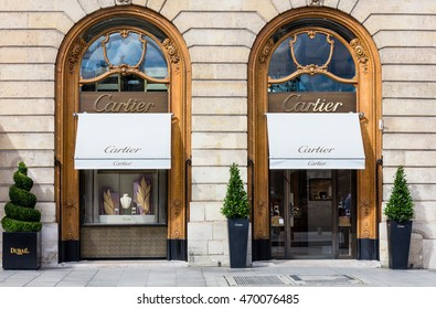Paris, France - July 02, 2016: Cartier shop in place Vendome in Paris. The company with its headquarters in Paris is now a wholly owned subsidiary of Compagnie Financiaire Richemont SA