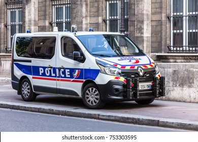 Paris, France - July 03, 2017:  Renault truck of the Prefecture of Police of Paris on the Cite Island. (French National Police)