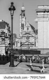 Paris, France - July 03, 2017: Saint-Etienne-du-Mont is a church in Paris, located near the Pantheon. It contains the shrine of St. Genevieve, the patron saint of Paris.