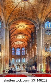 PARIS, FRANCE - JULY 04, 2016 : Interior of one of the oldest Cathedrals in Europe- Notre Dame de Paris. France.