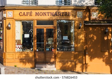 Paris, France - July 06, 2016: The charming Cafe Montmartre on Montmartre hill. Montmartre with traditional french cafes and art galleries is one of the most visited landmarks in Paris.