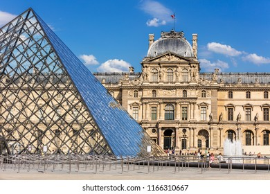 Paris, France - July 06, 2017:  Part of the Louvre Palace. The Louvre Museum (Musee du Louvre) is the world's largest art museum and a historic monument in Paris.