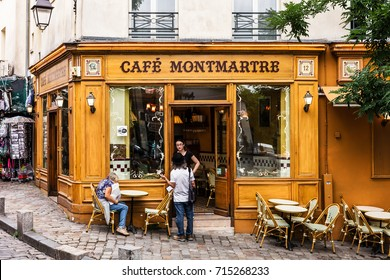Paris, France - July 06, 2017: The charming Cafe Montmartre on Montmartre hill. Montmartre with traditional french cafes and art galleries is one of the most visited landmarks in Paris.