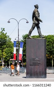 Paris, France - July 07, 2017: Monument to French general and statesman Charles de Gaulle at the Avenue des Champs-Elysees