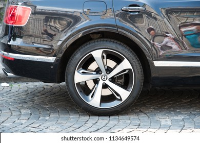 Paris, France - July 07, 2018: detail of Bentley Bentayga luxury suv